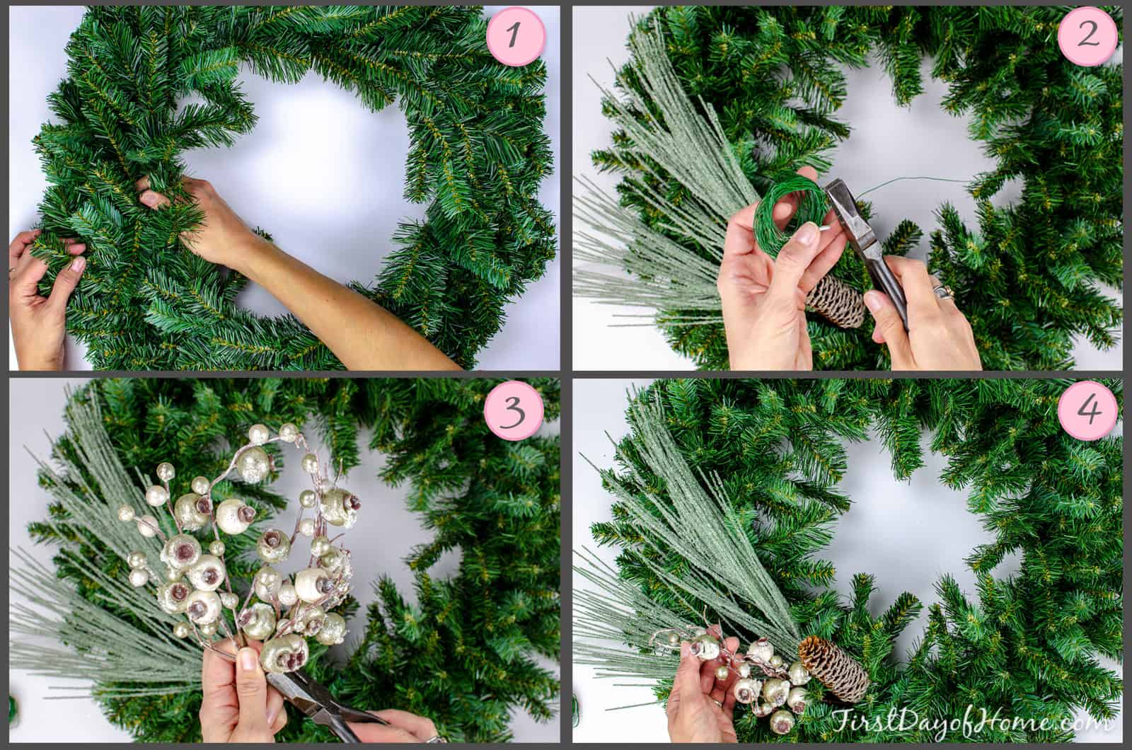 Steps for making a homemade Christmas wreath from scratch