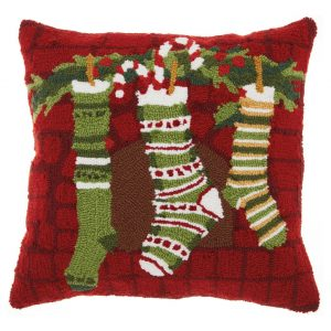 Mina Victory Home For The Holiday Christmas Stockings Decorative Throw Pillow