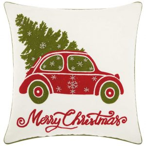 Mina Victory Home For The Holiday Christmas Tree In Car Decorative Throw Pillow