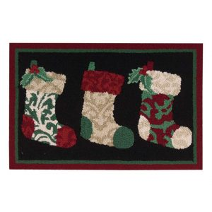 Nourison Waverly Christmas Three Stockings Indoor Doormat