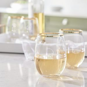PERSONALIZED GOLD RIM STEMLESS WINE GLASSES, SET OF FOUR