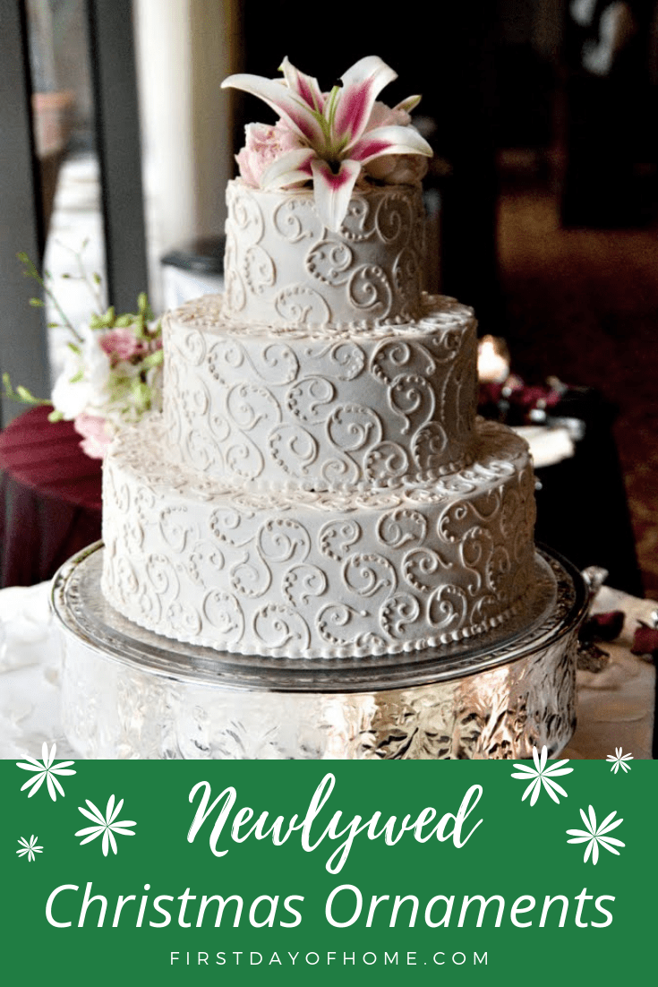 Three tiered wedding cake for newlywed christmas ornament post