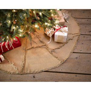 VHC Brands Burlap Natural Reverse Seam 48 in. Tree Skirt