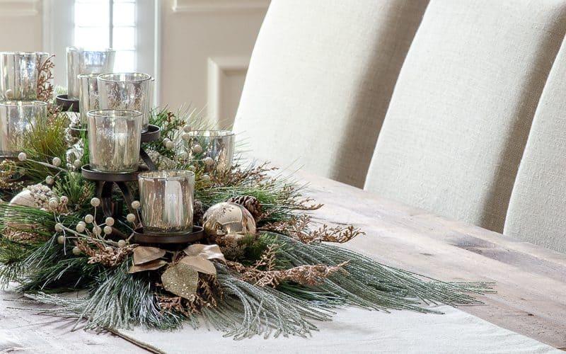 DIY Holiday Centerpiece with Mercury Glass