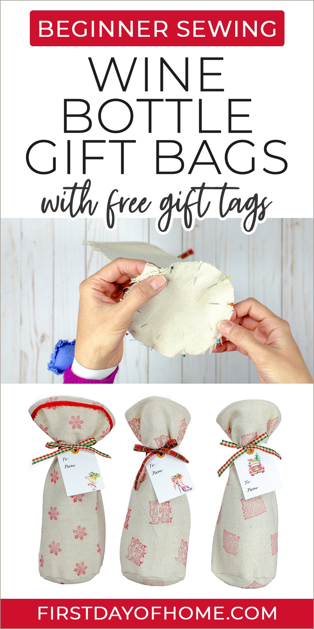 """Wine bottle gift bags made from drop cloth with text overlay """"Beginner Sewing Wine Bottle Gift Bags with Free Gift Tags"""""""