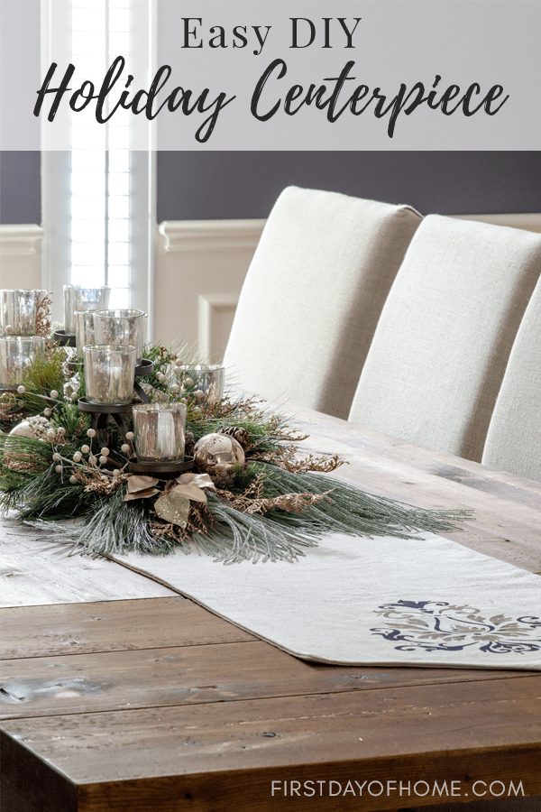 DIY mercury glass Christmas centerpiece with greenery and silver and gold metallic ornaments and accents, easy DIY holiday centerpiece