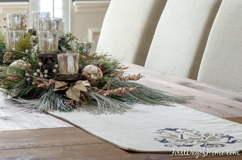 Dining room rectangular table mercury glass votive candleholder table centerpiece for Christmas and the holidays with stenciled table runner underneath