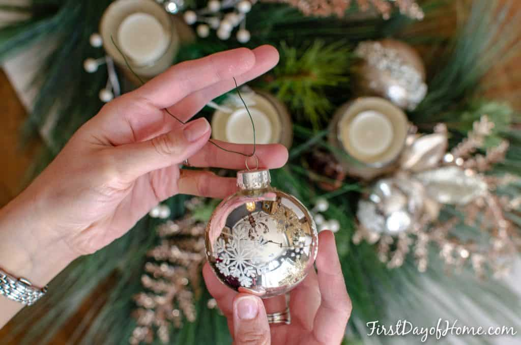 Silver snowflake ornament with floral wire for DIY holiday centerpiece