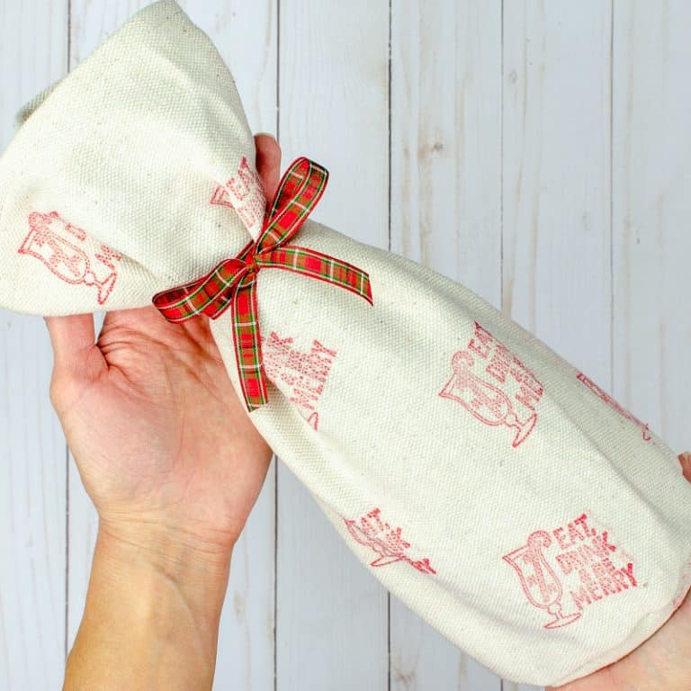 Simple Wine Bag Sewing Pattern with Drop Cloth