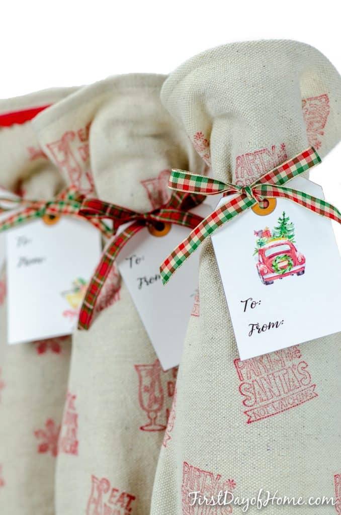 DIY simple wine gift bag sewing pattern