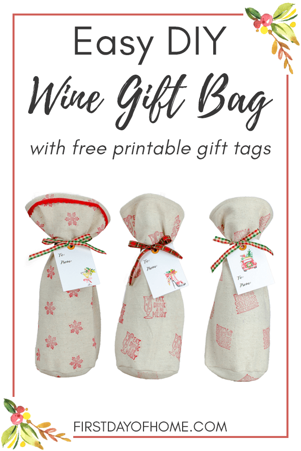 Easy wine gift bag sewing pattern using drop cloth, fabric stamps and dollar ribbon