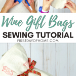 Wine gift bag sewing tutorial steps and finished wine bag photo