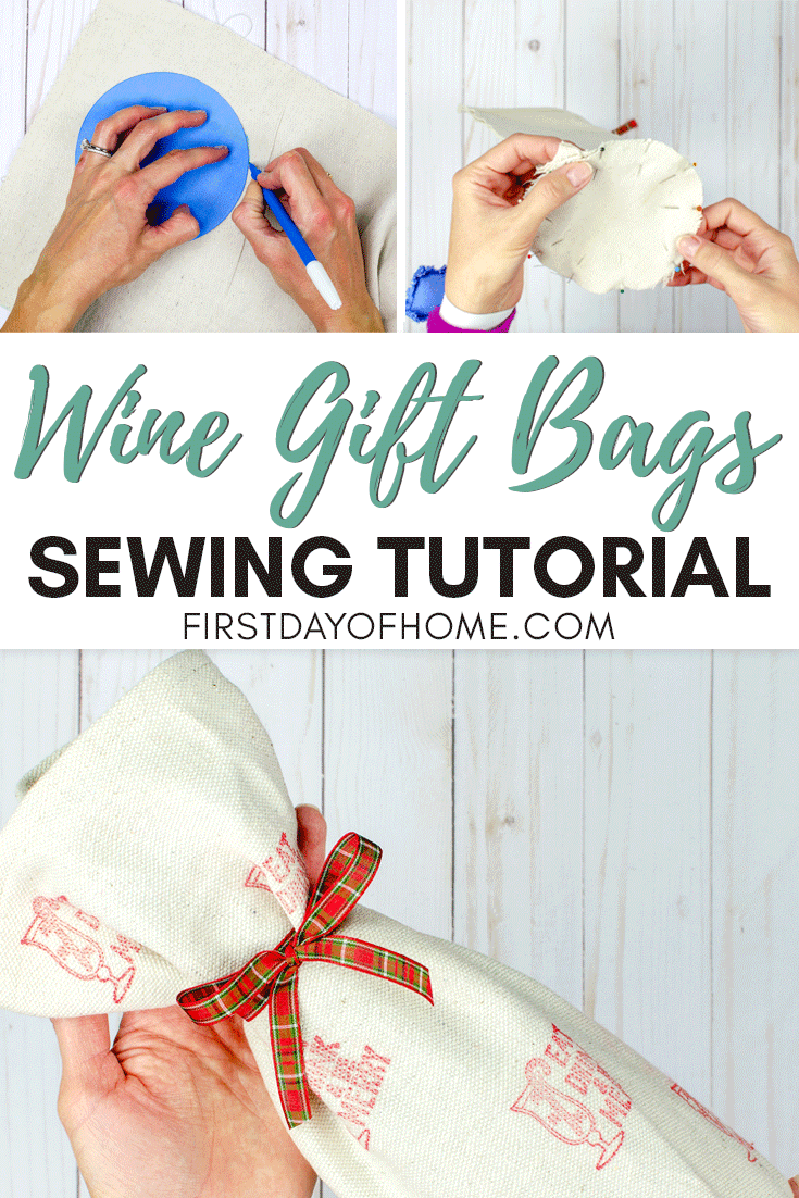 Fabric wine bags sewing tutorial - tracing pattern, pinning fabric and holding finished wine gift bag