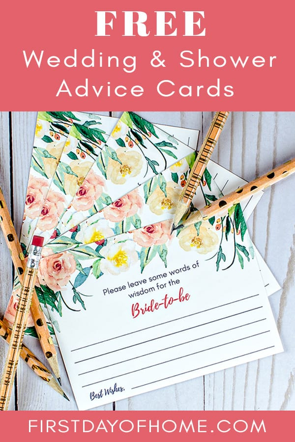 Free printable wedding advice cards and bridal shower advice cards