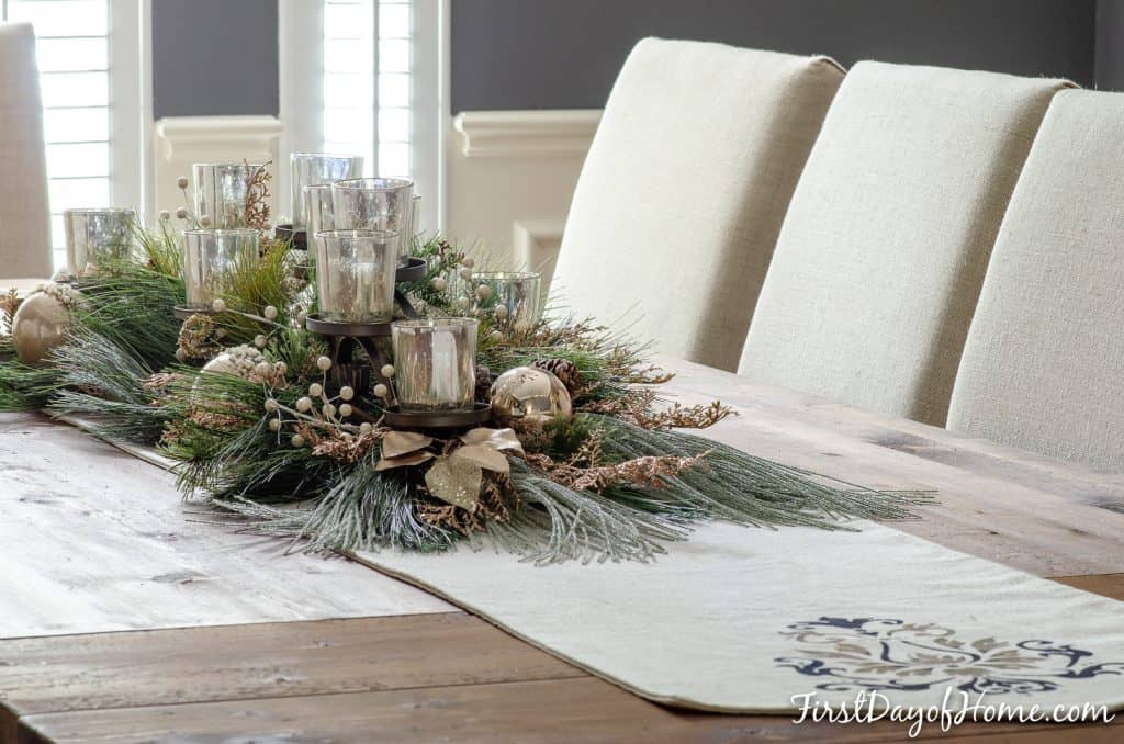 Dining room metallic table centerpiece