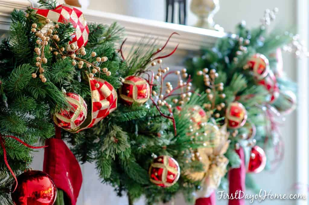 Red and gold Christmas mantel garland