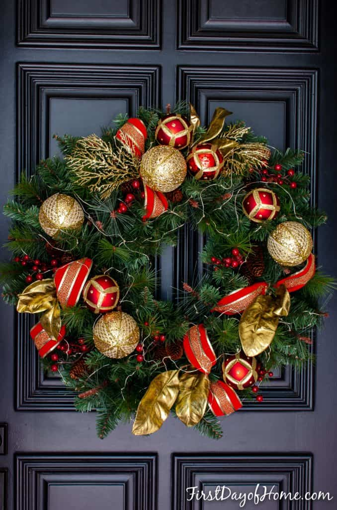Red and gold Christmas front door wreath