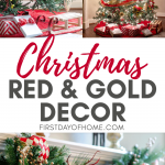 Christmas tree decorated in red and gold at night and during day and pine garland with red and gold ornaments on fireplace mantel