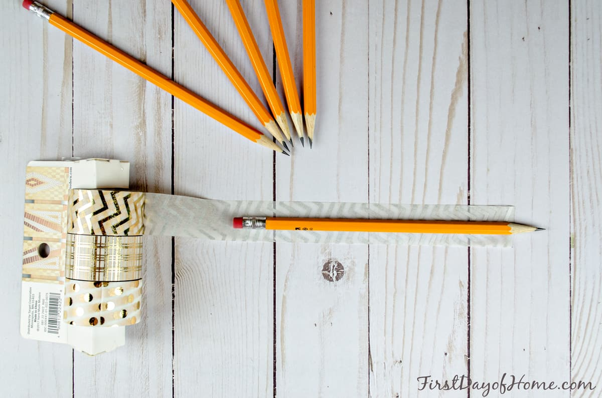 Washi tape pencils weddings showers (step 1)