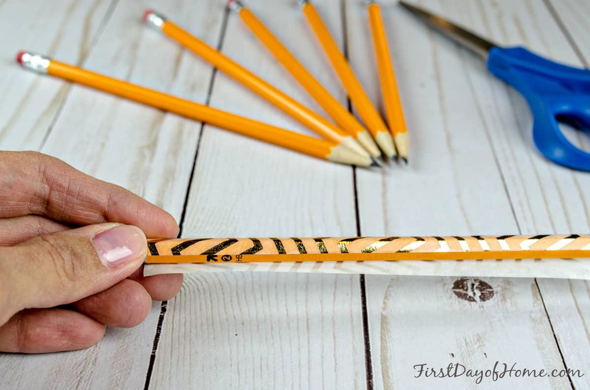 Washi tape pencils weddings showers (step 2)