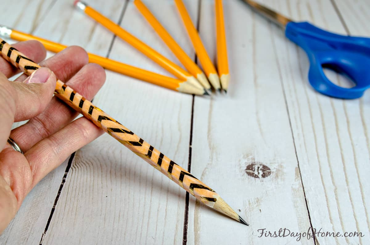 Washi tape pencils weddings showers (step 3)