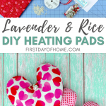 Lavender and rice heating pads in heart shape
