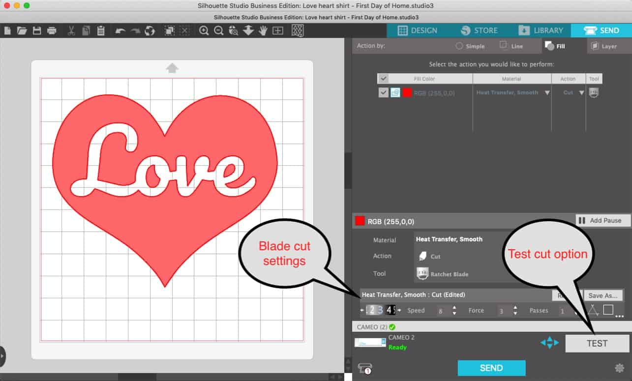 Free Heart Valentine's SVG pattern for download to use on Cricut or Cameo cutting machines