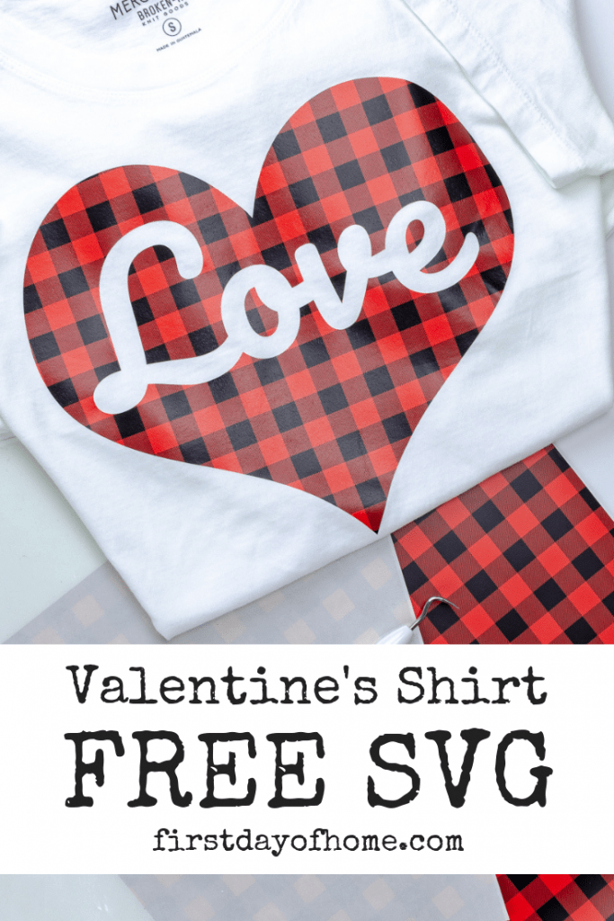 Free Valentine's Shirt SVG file for use on Cameo or Cricut to make heat transfer vinyl t-shirt