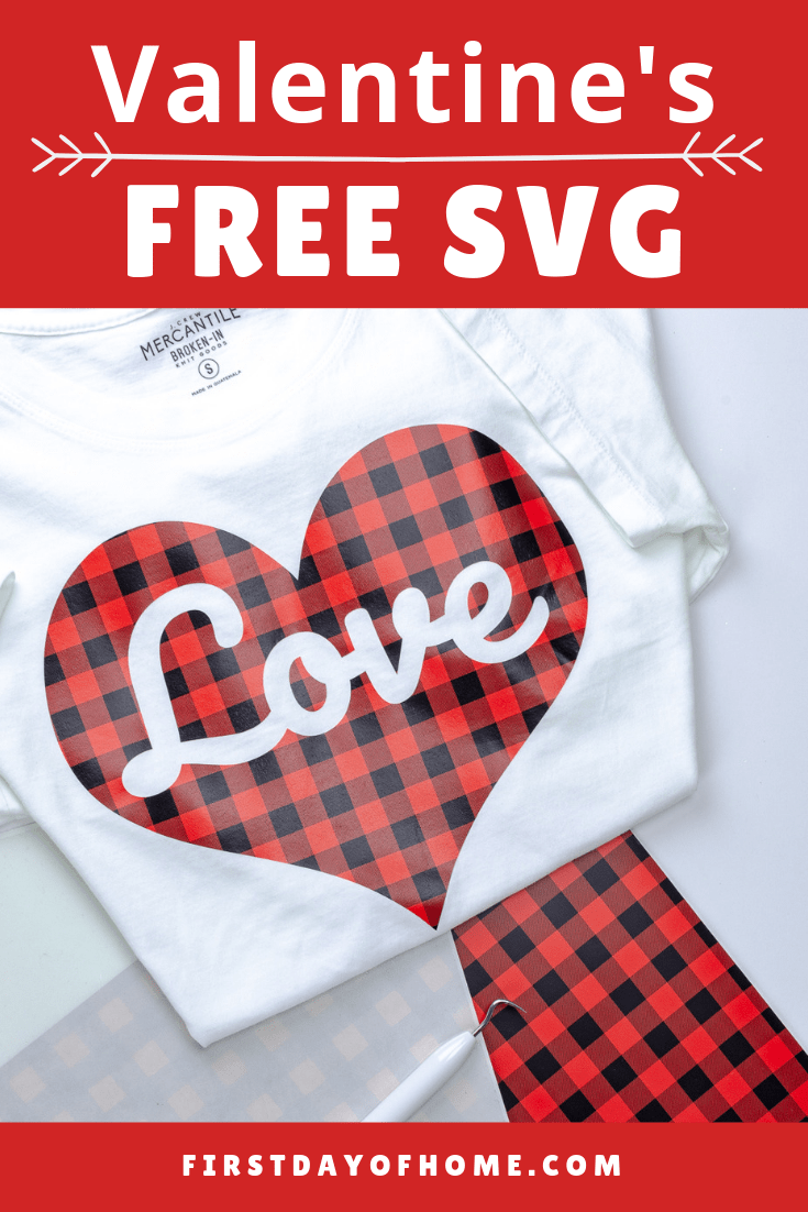 Make a DIY Valentine's t-shirt using buffalo plaid and a Cameo or Cricut cutting machine with this free SVG download