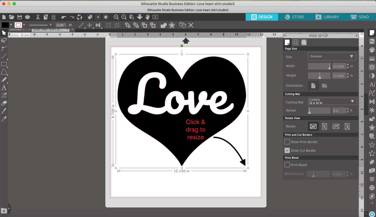 Resizing SVG file to make a Valentine's heart t-shirt with the word love for heat transfer vinyl using Cameo or Cricut