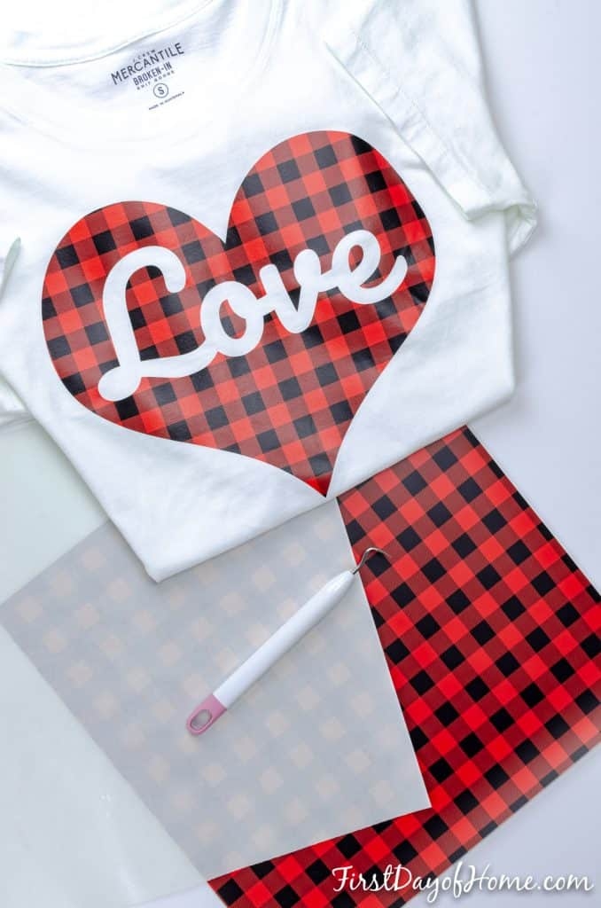 DIY Valentine's Day t-shirt using buffalo plaid heat transfer vinyl