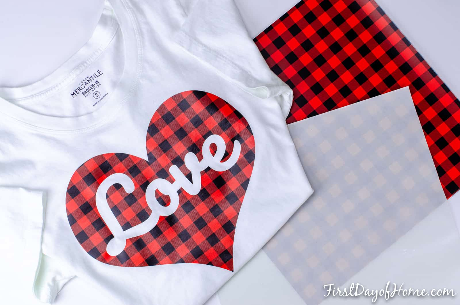 DIY Valentine's Day shirt using the Cameo or Cricut cutting machine, buffalo plaid vinyl and a free SVG file available for download