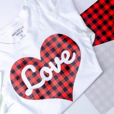 Valentine's Day t-shirt or top using heat transfer vinyl in buffalo plaid print and a Cameo cutting machine.
