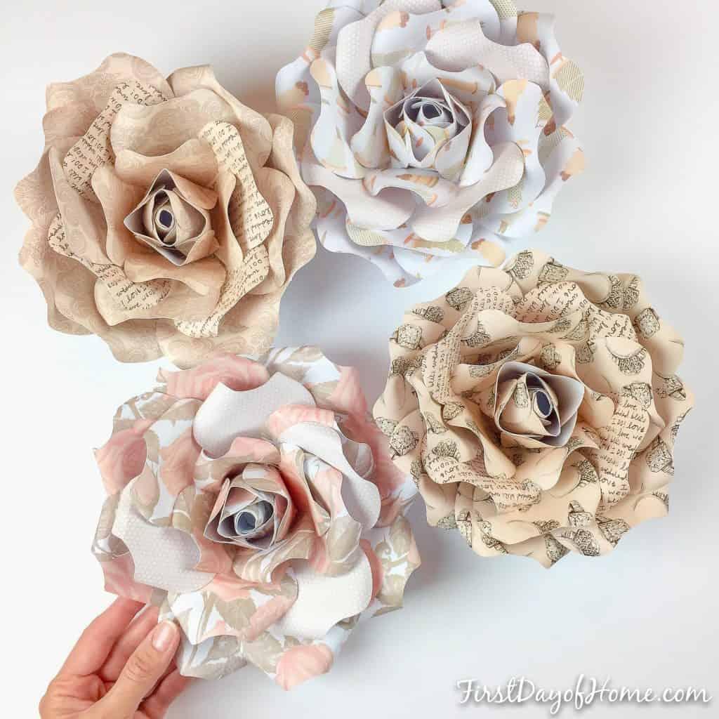 Wedding theme DIY paper flowers for bridal shower or wedding shower decor