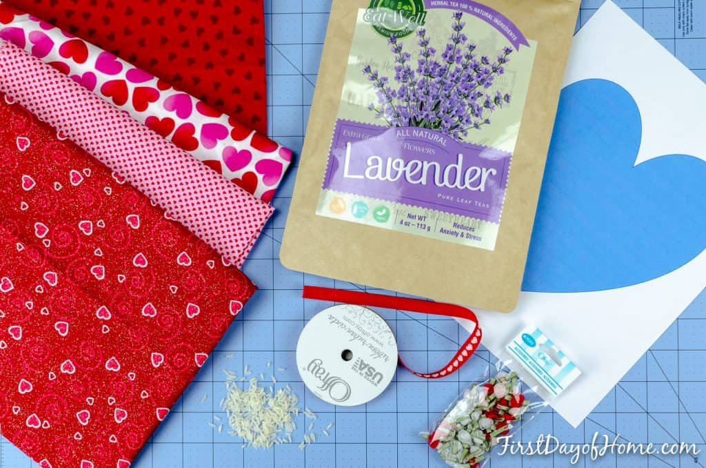 Ingredients to make a lavender heating pad for neck, shoulders, feet and any aches and pains