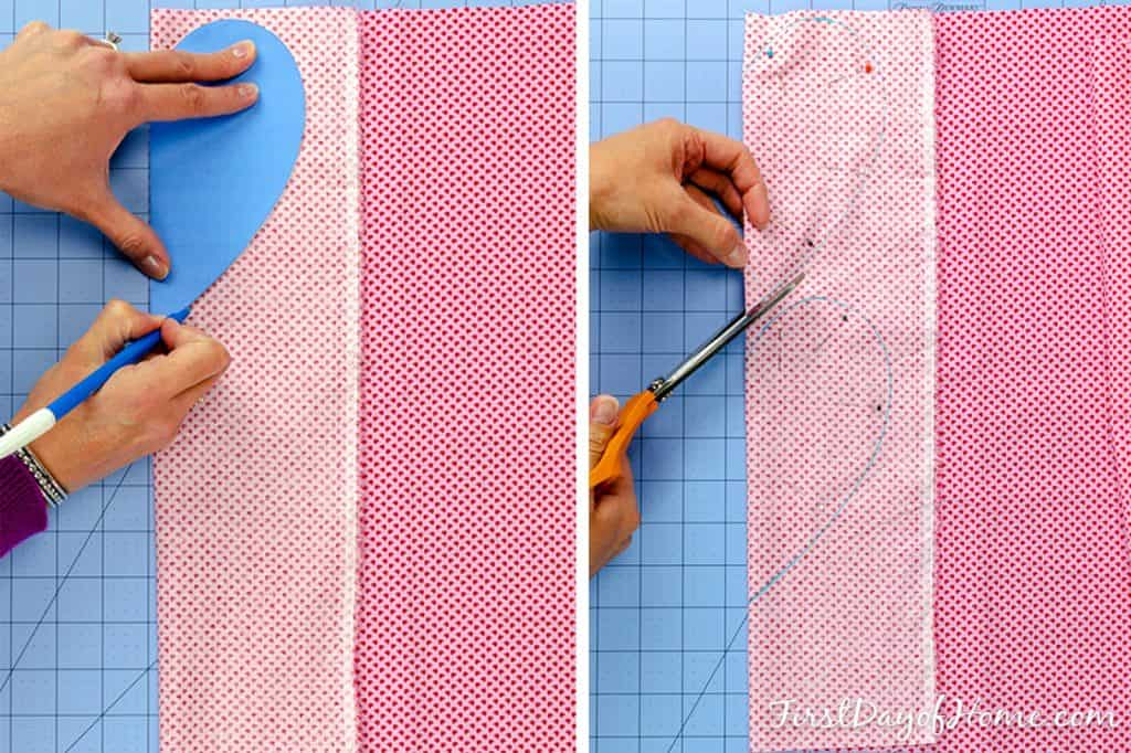 Preparing fabric to cut pattern for lavender microwavable rice heating pad
