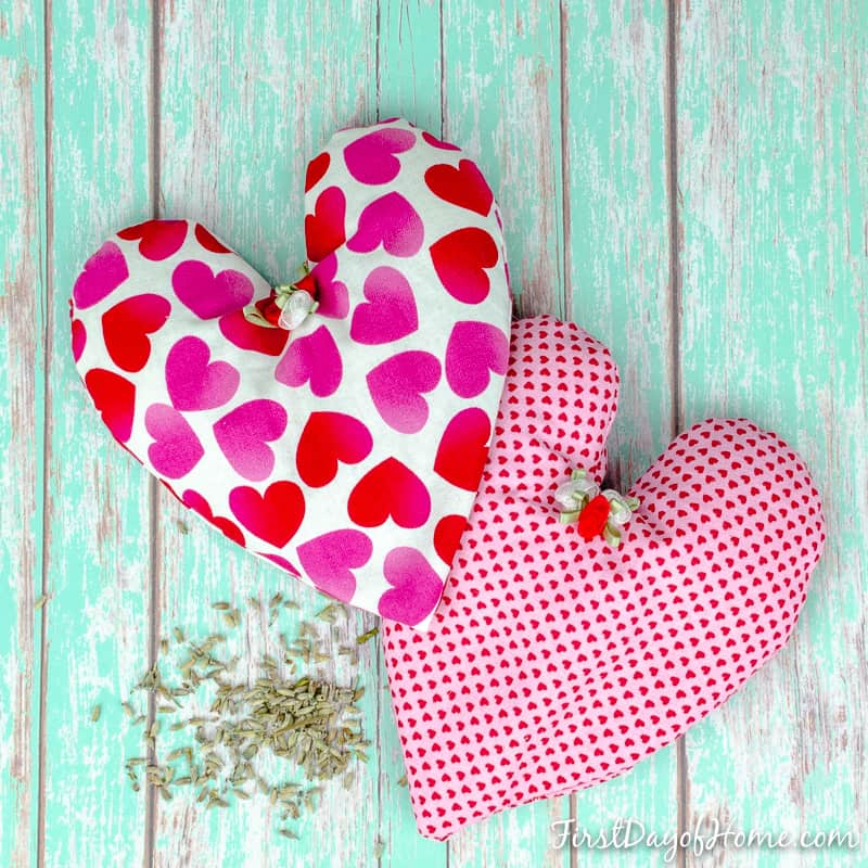 Finished heart shaped lavender rice heat bags