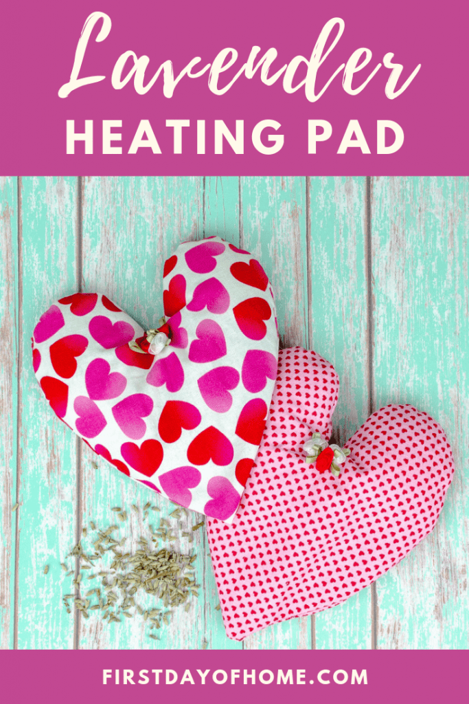 Heart shaped rice heating pad with lavender