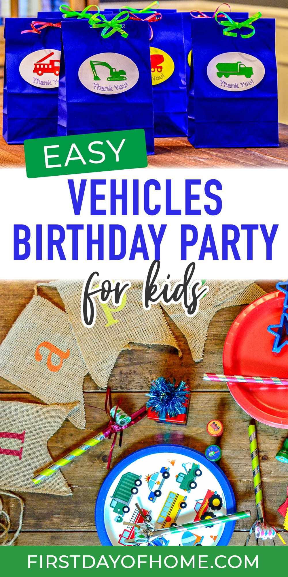 """Transportation party supplies and treat bags with text overlay reading """"Vehicles Birthday Party for Kids"""""""