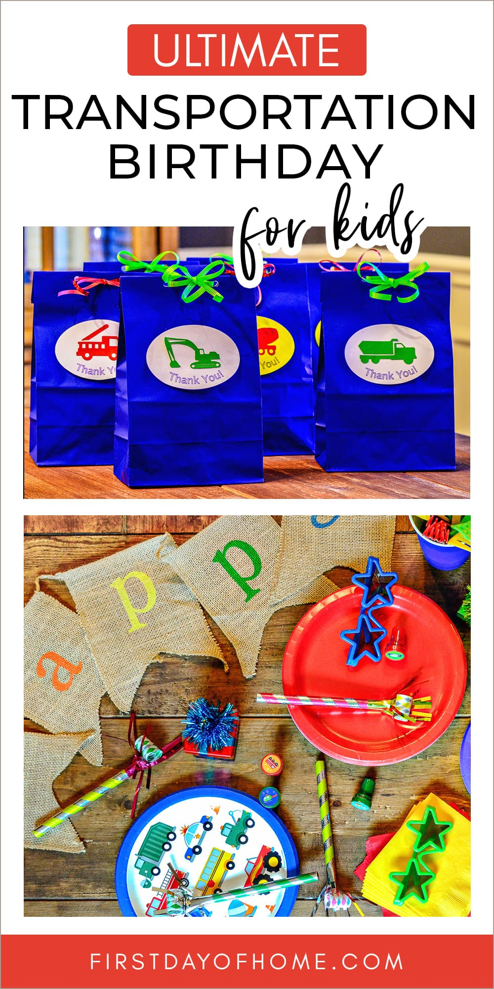 """Transportation party supplies and favor bags with text overlay reading """"Ultimate Transportation Birthday for Kids"""""""