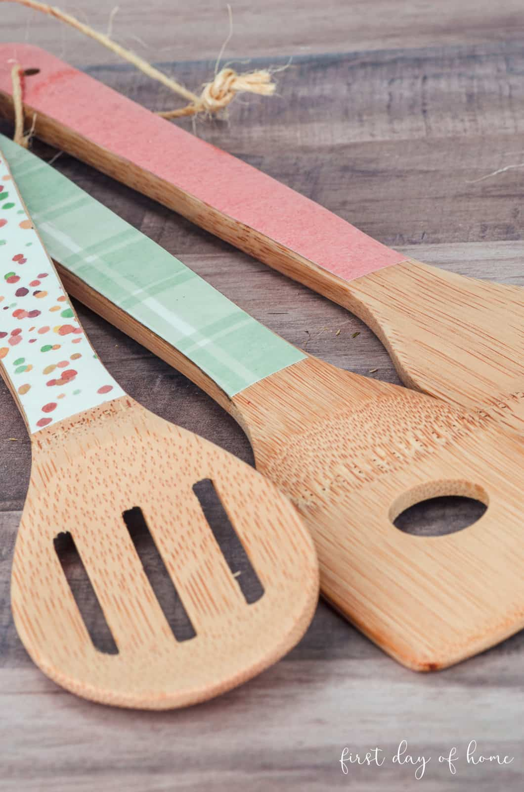 Close up of decoupage wooden spoons