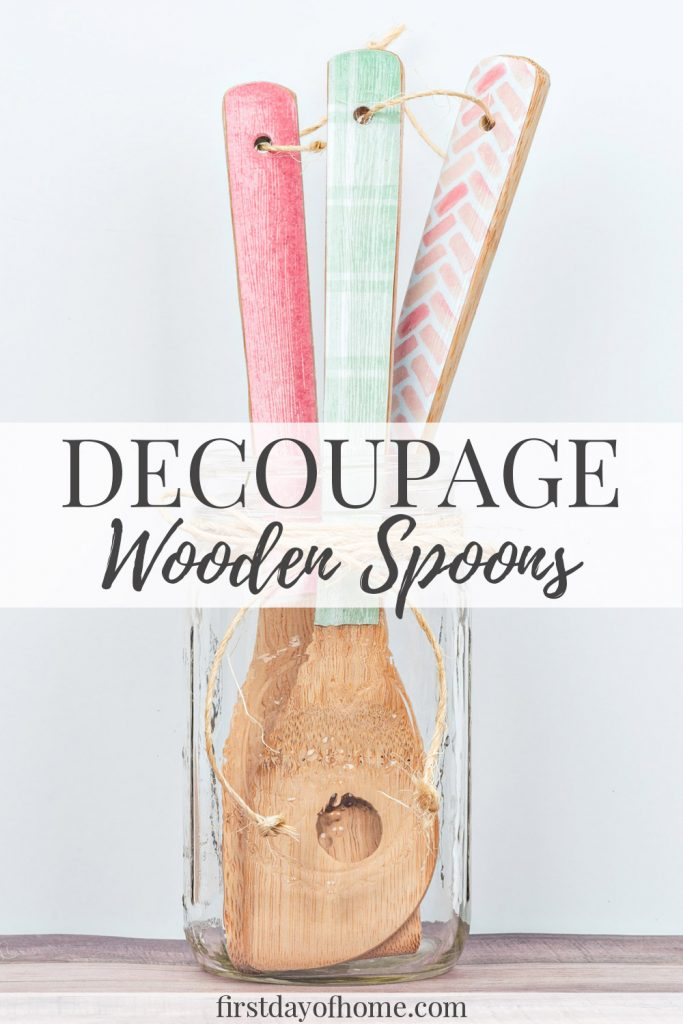 Easy decoupage wooden spoons
