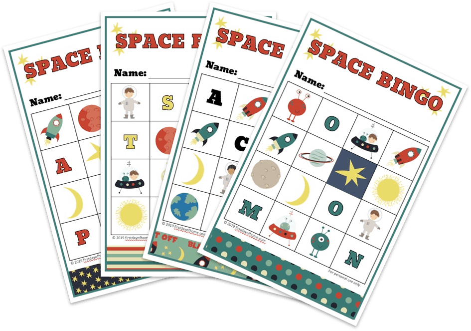 Printable outer space bingo game for kids