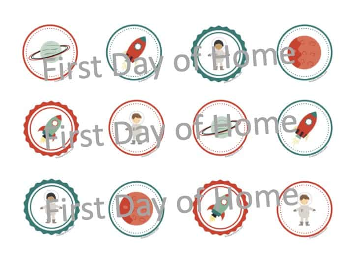 Space theme free printable cupcake toppers