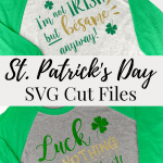 Two St. Patrick's Day t-shirts made from SVG cut files with heat transfer vinyl