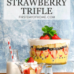 Strawberry trifle with pound cake, homemade pudding, fresh berries and whipped cream