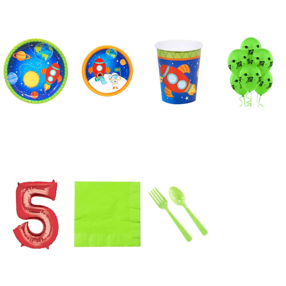 """""""Rocket to space"""" party supplies with number balloon, plates, cups, napkins and plasticware"""