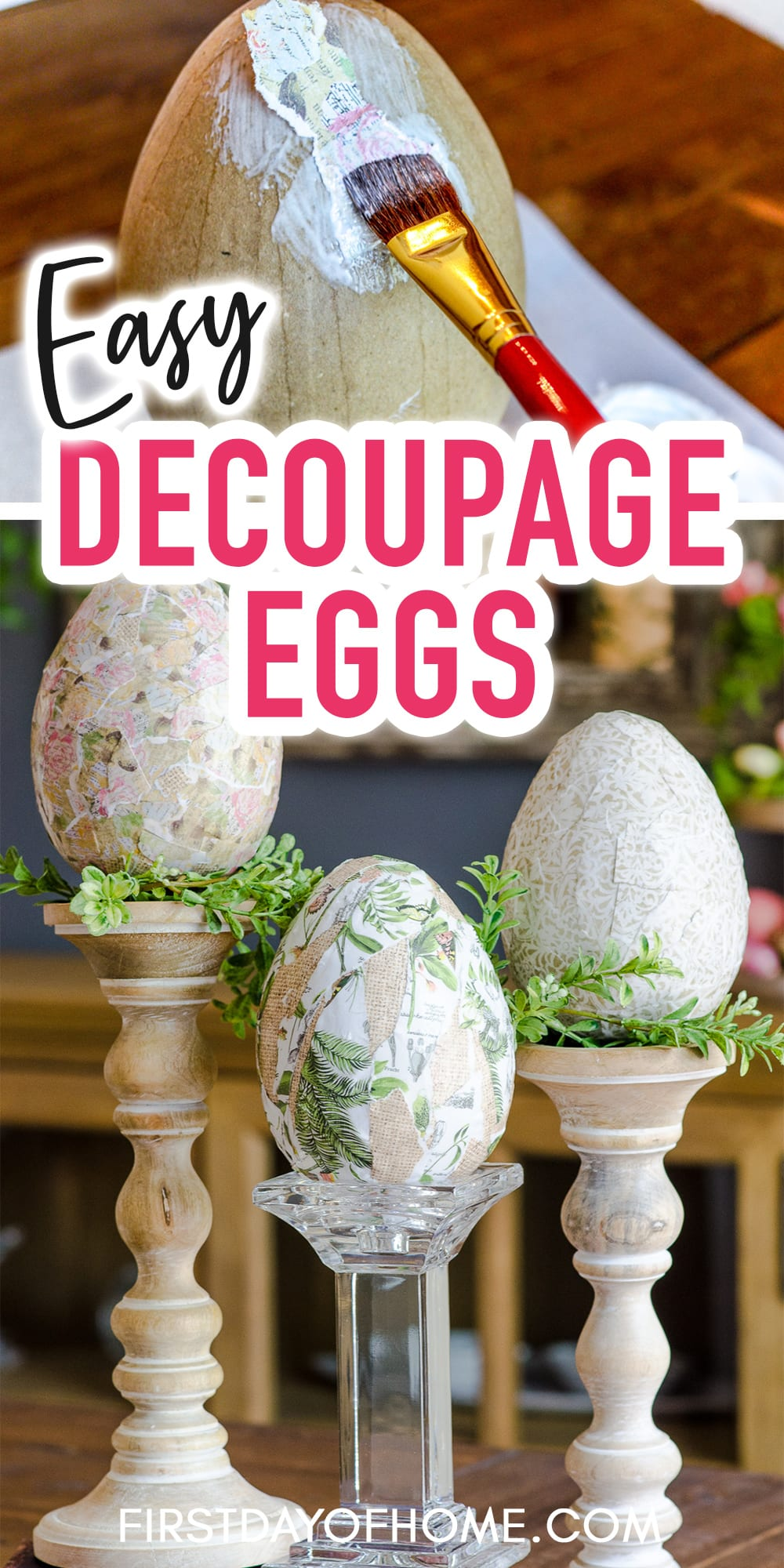 """Decorated Easter eggs using scrapbook paper and Mod Podge with text overlay reading """"Easy Decoupage Eggs"""""""