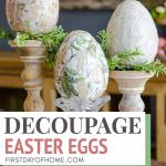 Decoupage eggs on candleholders