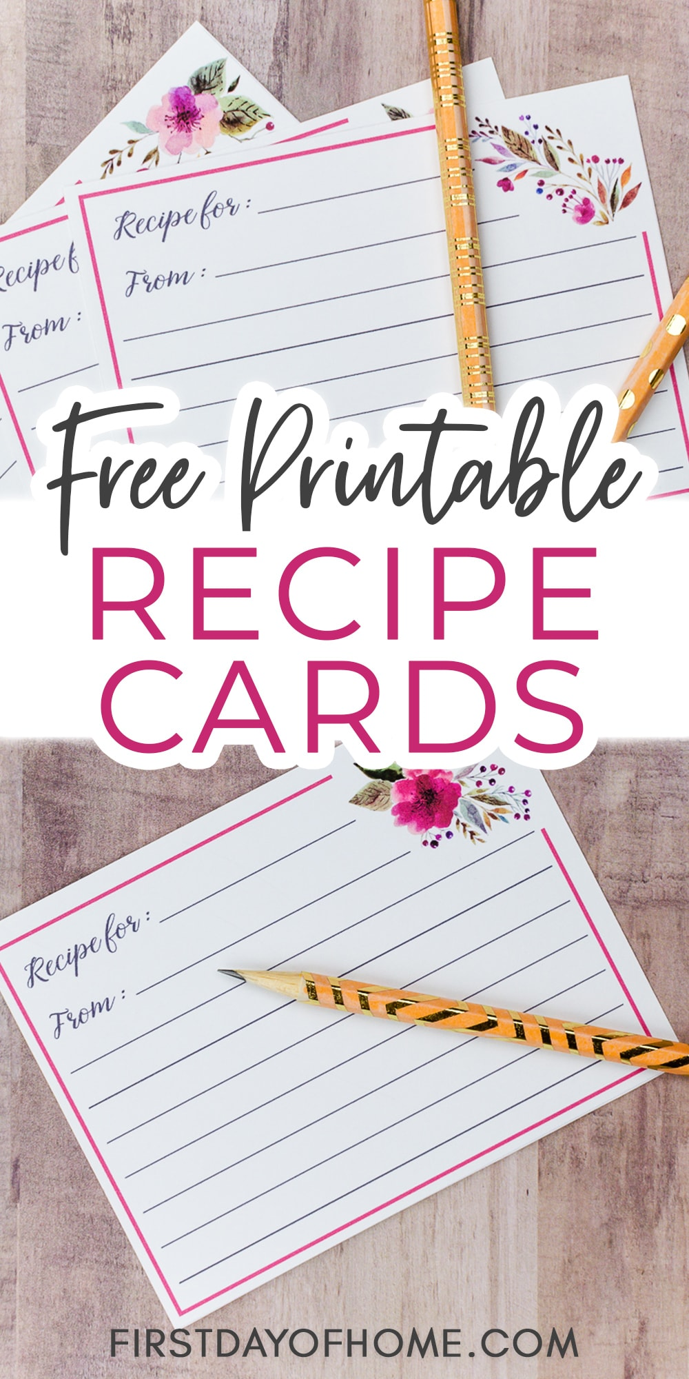 """Printed recipe cards with floral pattern and text overlay reading """"Free Printable Recipe Cards"""""""
